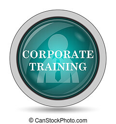 Corporate training icon, website button on white background.