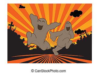 happy ghosts - free ghosts running in the sun set, black...