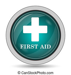 First aid icon, website button on white background.
