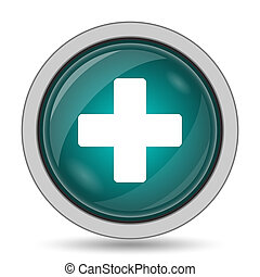 Medical cross icon, website button on white background.