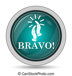 Bravo icon, website button on white background.