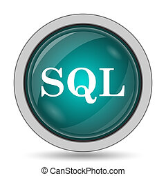 SQL icon, website button on white background.