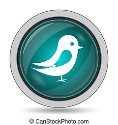 Bird icon, website button on white background.