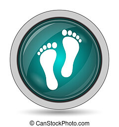 Foot print icon, website button on white background.