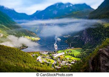 Geiranger fjord, Norway Tilt shift lens. - Tilt shift lens -...