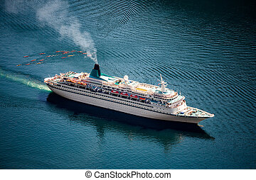 Cruise Liners On Geiranger fjord, Norway - Cruise Ship,...