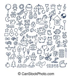 Collection of hand drawn cute doodles. Doodle children drawing. Sketch set of drawings in child style