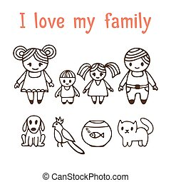 I love my family. Happy family with two children in cartoon style. Hand drawn doodle design elements. Drawing sketch. Dog, cat, parrot and fish