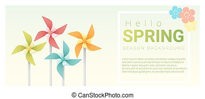 Hello spring background with colorful pinwheels 3
