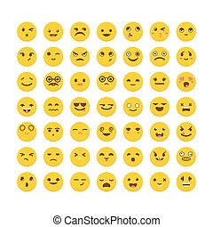 Set of emoticons. Cute emoji icons. Avatars. Big collection...