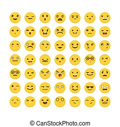Set of emoticons. Cute emoji icons. Big collection with...