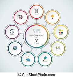 Infographic circle. Modern minimalistic template with 9...