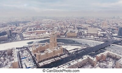 aerial filming Hotels Ukraine air, Moscow Russia. flight over the Seven Sisters, the courtyard and the facade.