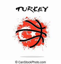 Flag of Turkey as an abstract basketball ball - Abstract...