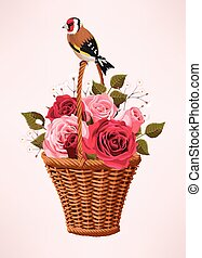 Vintage basket with flowers - Vector illustration of vintage...