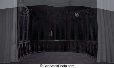 Gothic balcony in old castle 3d render animated background -...
