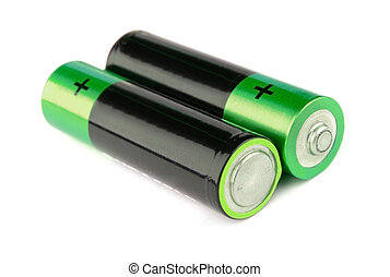 Batteries - Two batteries on a white background it is...