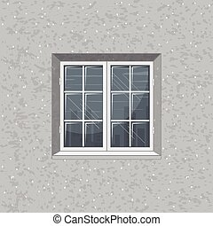 Solid Concrete Wall with Glass Window. Vector