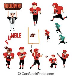 American Football Icons Cliparts Design Elements - A vector...