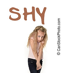 English language vocabulary school card with the word shy...