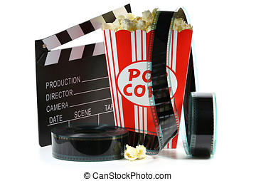 popcorn in a cardboard container with clapperboard and...