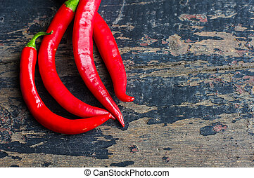 organic food concept - Organic food - hot chilli pepper on...