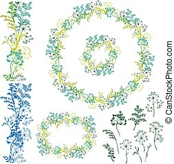 Set of floral frame, seamless border and separated elements with wild flowers and grass. Silhouettes isolated on white background.