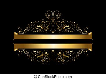 Gold floral design with a cross and ribbons