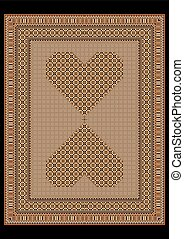 Rug light brown tones with  hearts in the center