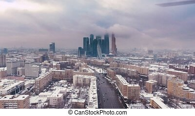 Aerial Video footage Snowy business center Moscow City