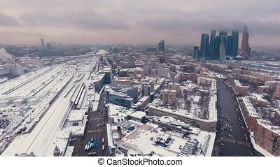 Aerial Video footage Snowy business center Moscow City -...