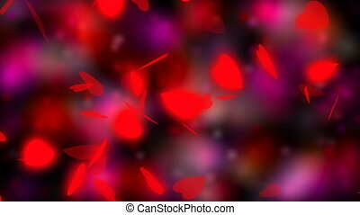 Valentine's day and wedding abstract background,flying red hearts and particles. Symbols of love, passion and wedding.
