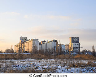 Building for storing and drying grain. Soviet-built...
