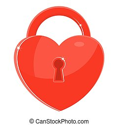red heart lock - Heart as the key to the lock. Sincere...