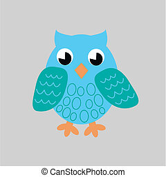 blue owl - illustration of a blue owl on grey background...