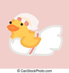 Funny yellow duck like bride in white dress and bridal...