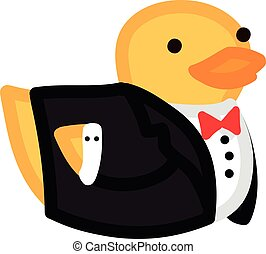 Funny yellow duck like groom in suit and bow