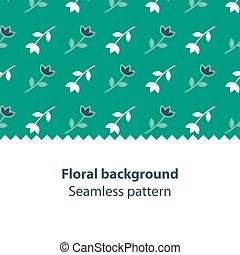 Green flowers fancy backdrop pattern - Seamless subtle...