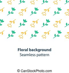 Green and yellow flowers fancy backdrop pattern - Seamless...