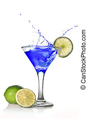 Blue cocktail with splash isolated on white