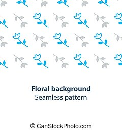 Blue flowers fancy backdrop pattern - Seamless subtle flower...