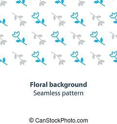Blue flowers fancy backdrop pattern - Seamless subtle flower...