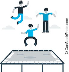 Jumping kids on trampoline - Bouncing on a trampoline,...