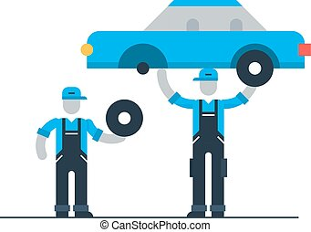 Auto repair shop, workers in uniform with car, check up concept