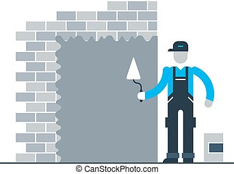 Construction worker finishing brick wall - Stucco worker,...