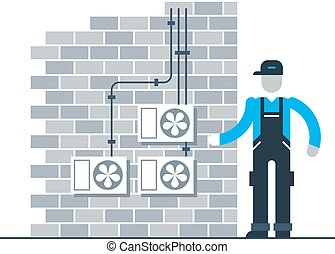 Worker with air coditioners on the brik wall - Air...