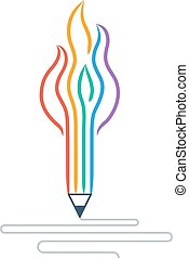 Writing skills development, painting class icon - Creative...