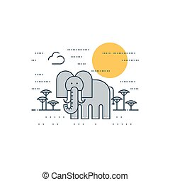 Grey elephant outdoor, simple cartoon