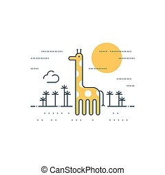 Giraffe outdoor, simple cartoon - African wildlife, giraffe...
