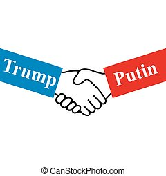 Hands Russian and US presidents on white background vector...